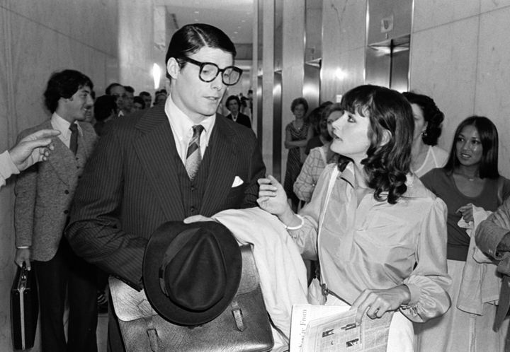 "Christopher Reeve and Margot Kidder filming a scene from ""Superman"" in 1977."