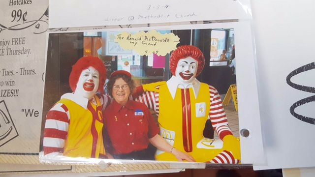A page of Alice Pirnie's McDonald's scrapbook.