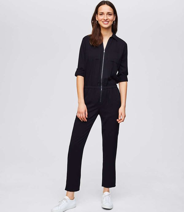 "Get the <a href=""https://www.loft.com/utility-zip-jumpsuit/461165"" target=""_blank"">Loft utility zip jumpsuit</a>, $80."
