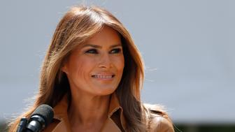 """U.S. first lady Melania Trump delivers remarks at the """"launch of her Be Best initiatives in the Rose Garden of the White House in Washington, U.S., May 7, 2018. REUTERS/Kevin Lamarque"""