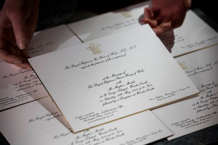 Invitations for Prince Harry and Meghan Markle's wedding in Windsor Castle in May, seen after they have been printed at the workshop of Barnard and Westwood in London on March 22.