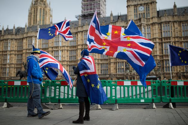 Anti-Brexit demonstrators outside Parliament