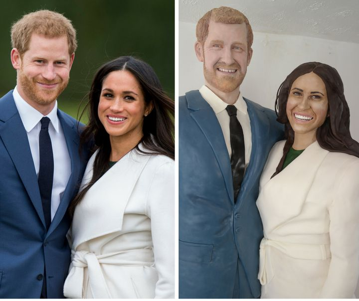 "<a href=""https://www.facebook.com/LaraMasonCakeArt/"" target=""_blank"">Cake artist Lara Mason</a>&nbsp;based her cake on photos of Prince Harry and Meghan Markle when they announced their engagement."