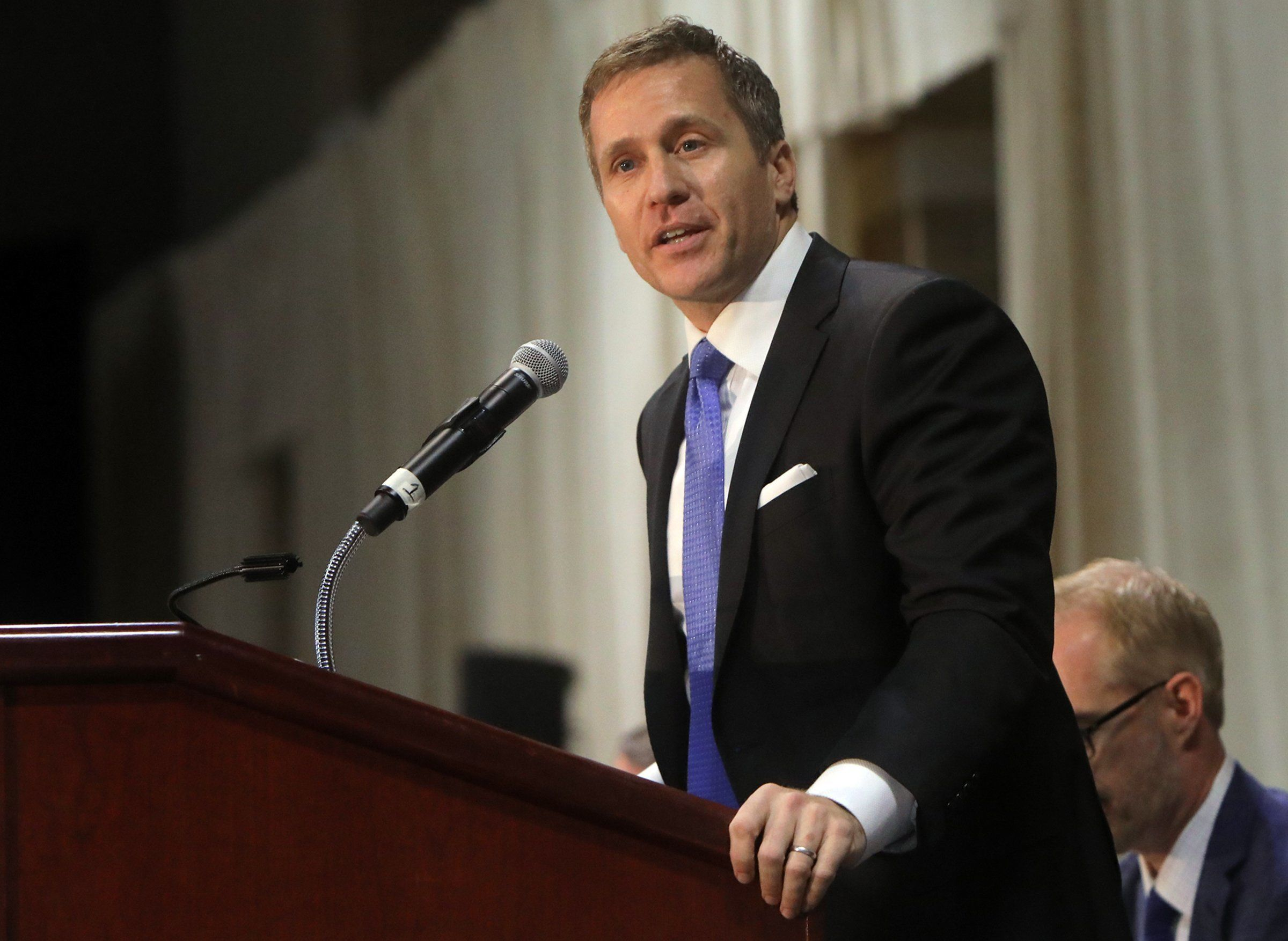 Gov. Eric Greitens delivers the keynote address at the St. Louis Area Police Chiefs Association 27th Annual Police Officer Memorial Prayer Breakfast on April 25, 2018, at the St. Charles Convention Center. (Laurie Skrivan/St. Louis Post-Dispatch/TNS via Getty Images)