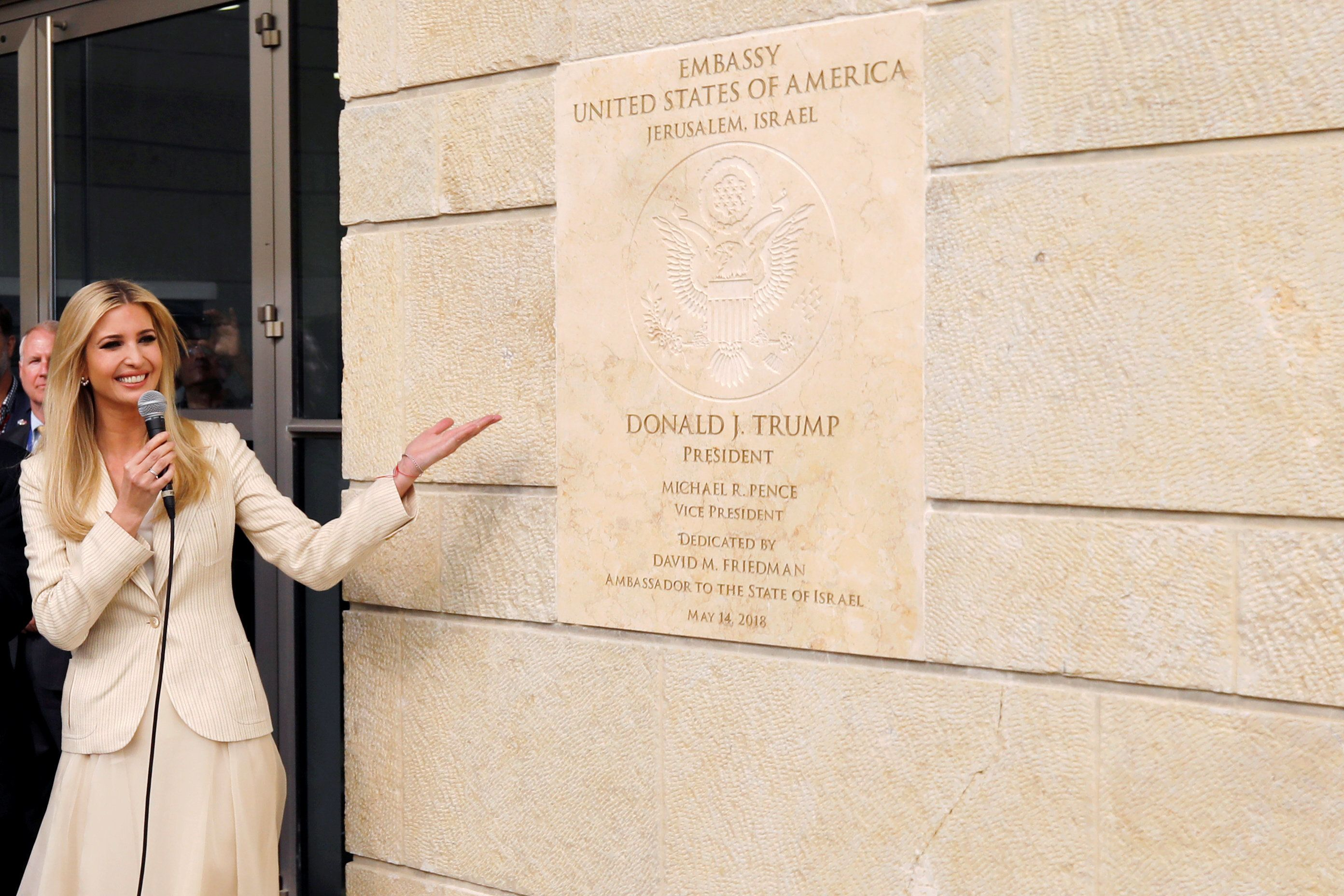 Senior White House Adviser Ivanka Trump gestures as she stands next to the dedication plaque at the U.S. embassy in Jerusalem, during the dedication ceremony of the new U.S. embassy in Jerusalem, May 14, 2018. REUTERS/Ronen Zvulun