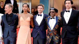 Jasper Paakkonen, Laura Harrier, Topher Grace, Director Spike Lee and Adam Driver attending the premiere of BlacKkKlansman at the Palais De Festival as part of the 71st Cannes Film Festival. Photo credit should read: Doug Peters/EMPICS