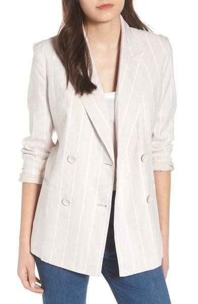"Get it <a href=""https://shop.nordstrom.com/s/leith-double-breasted-linen-blend-blazer/4967540?origin=keywordsearch-personaliz"