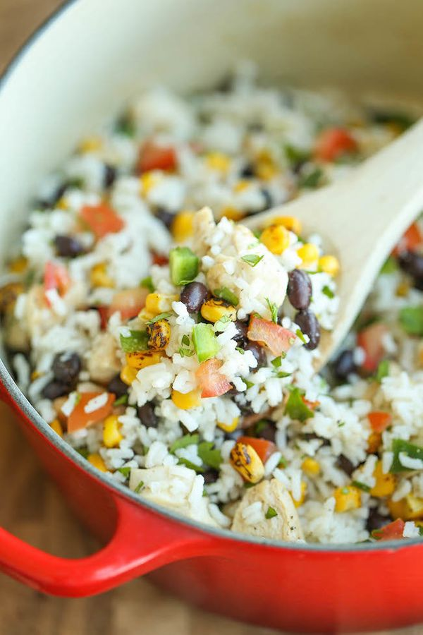 """<strong>Get the <a href=""""https://damndelicious.net/2015/07/25/one-pot-beans-chicken-and-rice/"""" target=""""_blank"""">One Pot Beans,"""