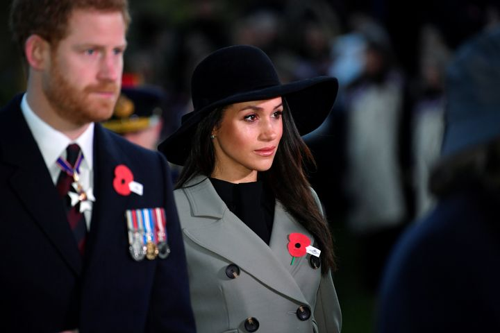 Prince Harry and Meghan Markle attend the Dawn Service at Wellington Arch in London on April 25.