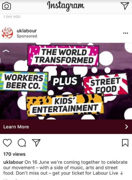 Instagram ads for the
