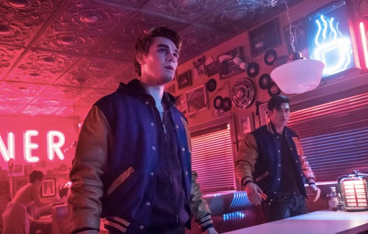 "KJ Apa and Charles Melton in ""Riverdale."""