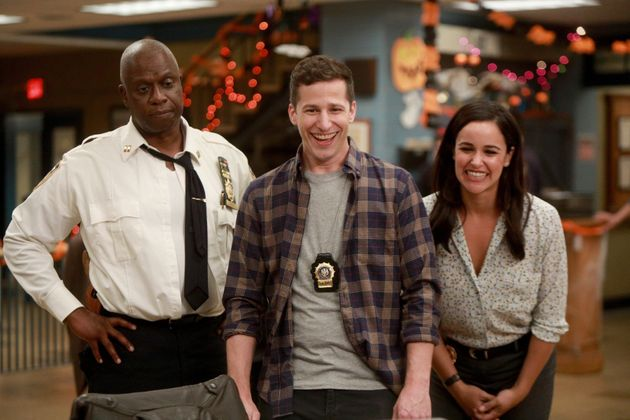 Andre Braugher, Andy Samberg and Melissa Fumero in