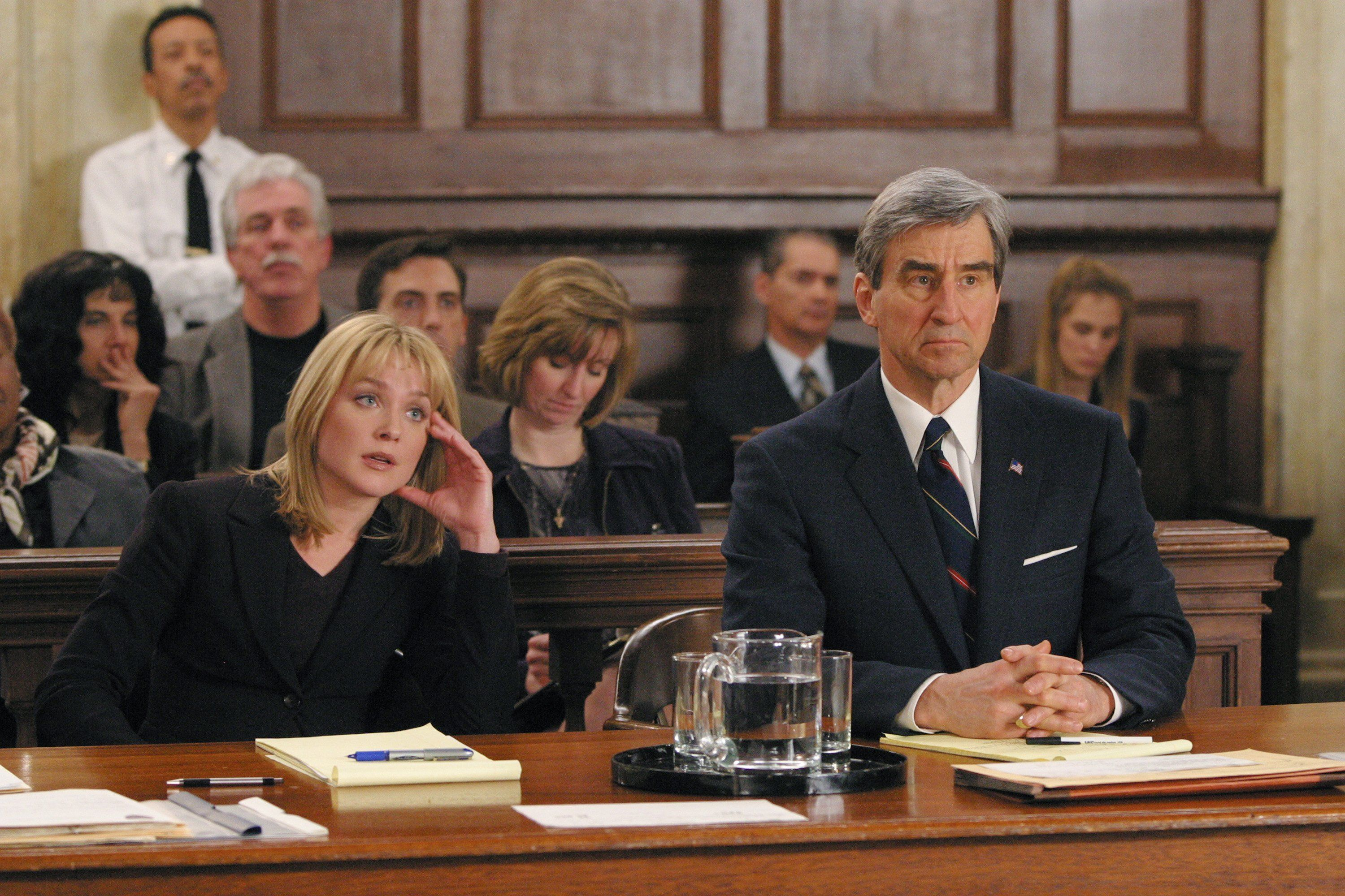 LAW & ORDER -- 'Suicide Box' Episode 16 -- Aired 03/26/2003 -- Pictured: (l-r) Elisabeth Rohm as A.D.A. Serena Southerlyn and Sam Waterston as Executive A.D.A. Jack McCoy -- Photo by: NBCU Photo Bank