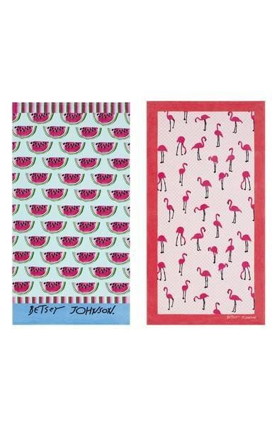 "Get it on <a href=""https://shop.nordstrom.com/s/betsey-johnson-watermelon-picnic-flamingo-strut-set-of-2-beach-towels/4927469"