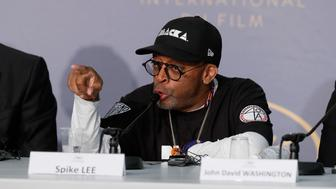 CANNES, FRANCE - MAY 15:  Spike Lee speaks at the press conference for 'BlacKkKlansman' during the 71st annual Cannes Film Festival at Palais des Festivals on May 15, 2018 in Cannes, France.  (Photo by Sebastien Nogier/EPA Pool/Getty Images)