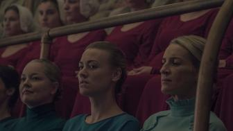 "THE HANDMAID'S TALE -- ""Seeds"" -- Episode 205 --  Offred spirals as a Gilead ceremony disrupts her relationship with Nick. Janine tries to adjust to life in the Colonies, jeopardizing her friendship with Emily. Serena Joy (Yvonne Strahovski) and Naomi Putnam (Ever Carradine), shown. (Photo by: George Kraychyk/Hulu)"