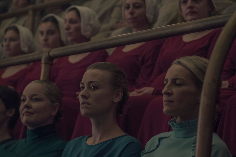 "Yvonne Strahovski in ""The Handmaid's Tale."""