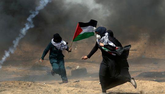 이스라엘군은 드론으로 최루탄을 쏘고 실탄을
