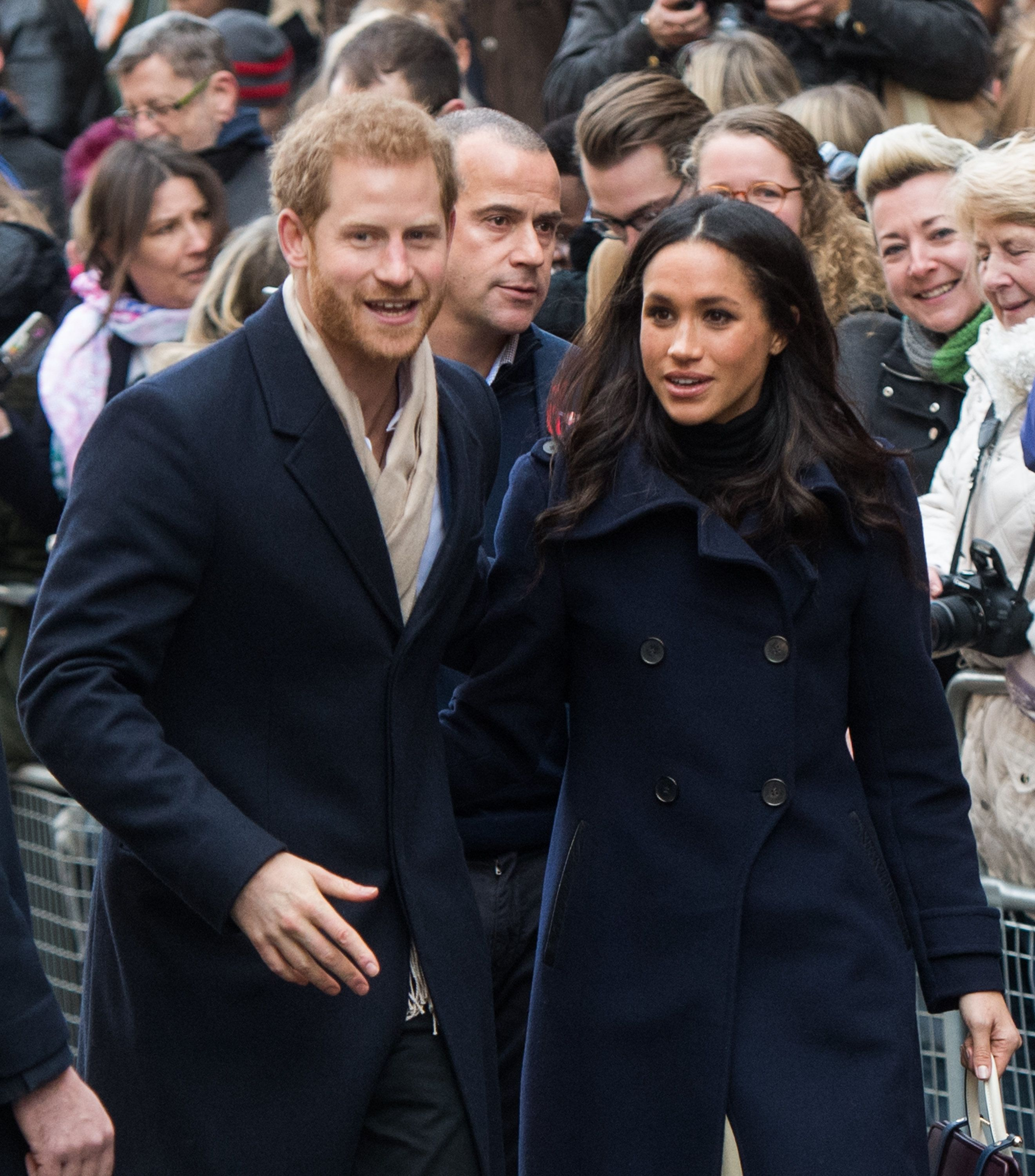 NOTTINGHAM, ENGLAND - DECEMBER 01:  Prince Harry and Meghan Markle go on a walk about at Nottingham Contemporary on December 1, 2017 in Nottingham, England.  Prince Harry and Meghan Markle announced their engagement on Monday 27th November 2017 and will marry at St George's Chapel, Windsor Castle in May 2018.  (Photo by Samir Hussein/Samir Hussein/WireImage)