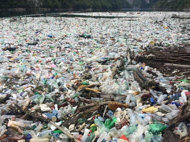 A plastic build up on the Drina river, in