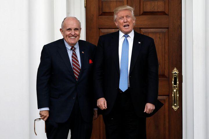 Former New York City Mayor Rudy Giuliani and President Donald Trump.