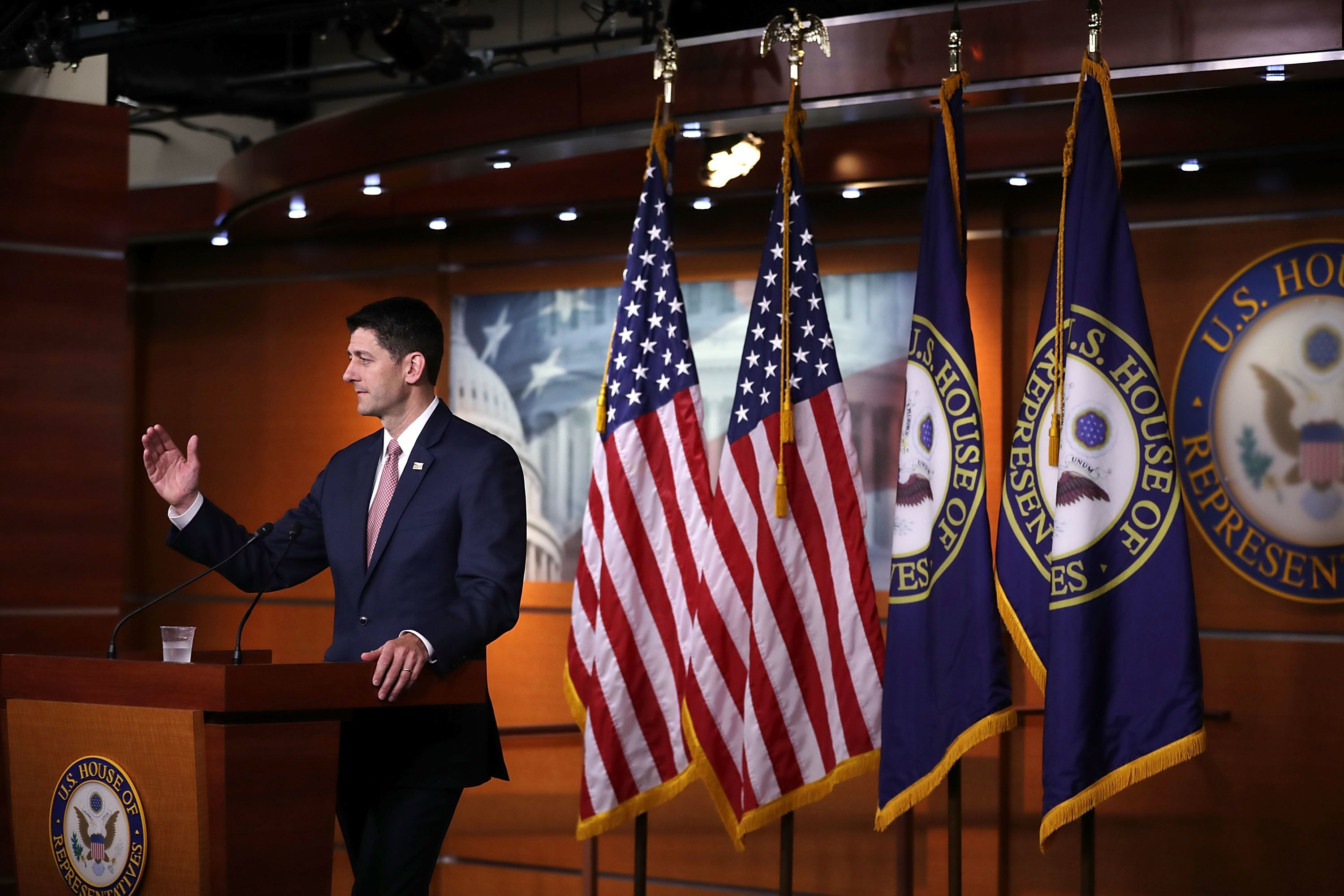 WASHINGTON, DC - MAY 10:  Speaker of the House Paul Ryan (R-WI) calls on reporters during his weekly news conference at the U.S. Capitol Visitors Center May 10, 2018 in Washington, DC. Among other subjects, Ryan answered questions about an attempt by some GOP members of Congress to force votes on immigration legislation before this year's midterm elections. (Photo by Chip Somodevilla/Getty Images)