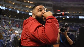 MIAMI, FL - MARCH 29: DJ Khaled performs before the Opening Day game between the Miami Marlins and the Chicago Cubs against the  at Marlins Park on March 29, 2018 in Miami, Florida. (Photo by Mark Brown/Getty Images)