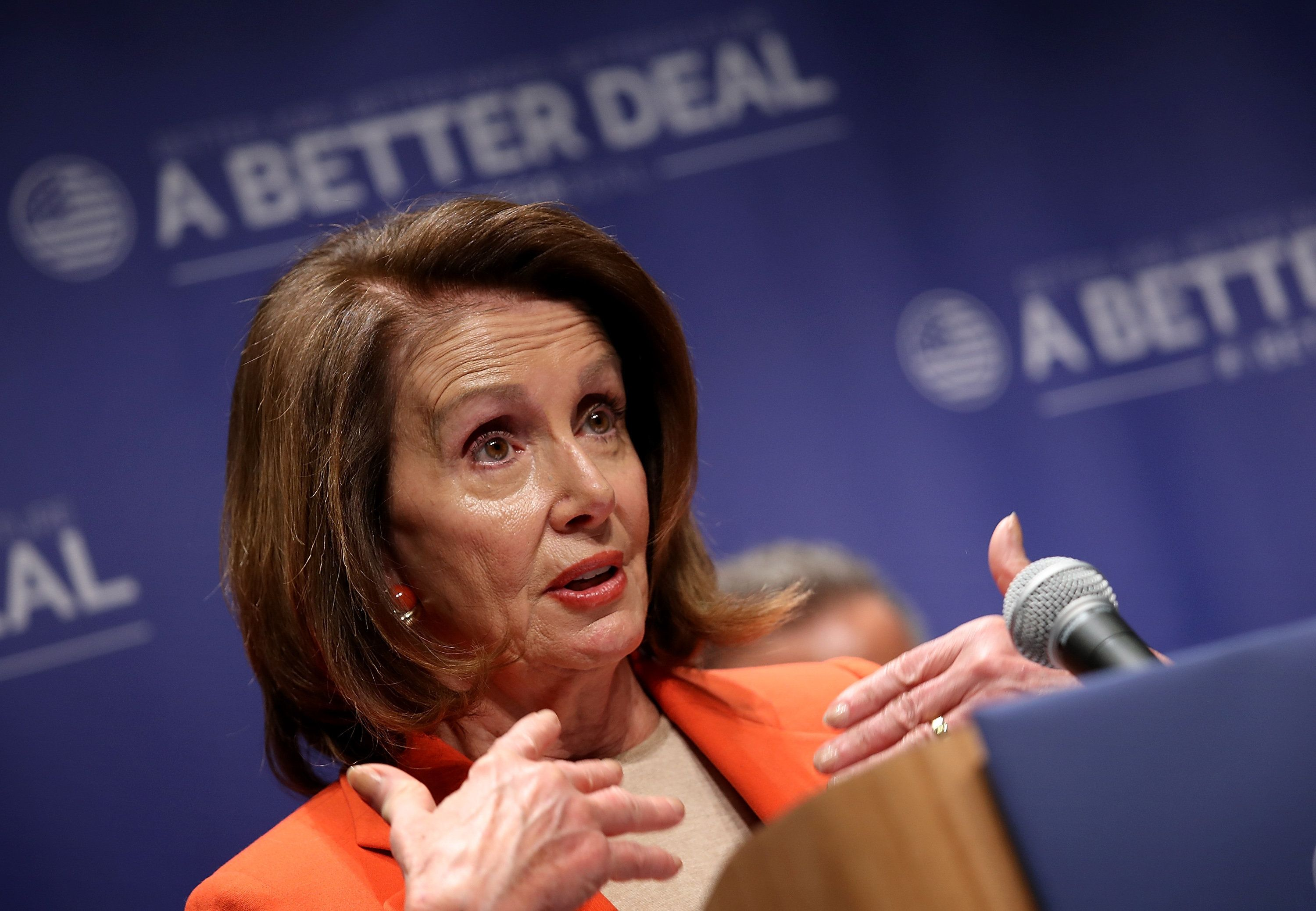 ALEXANDRIA, VA - APRIL 27:  House Minority Leader Nancy Pelosi (D-CA) speaks during an event at Northern Virginia Community College April 27, 2018 in Alexandria, Virginia. Pelosi and Democratic leaders unveiled the newest plank of their economic agenda, 'A Better Deal: Tools to Succeed in the 21st Century' during the event.  (Photo by Win McNamee/Getty Images)