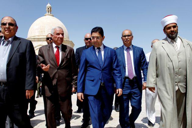 Au centre, le ministre marocain des Affaires étrangères et de la Coopération internationale,...
