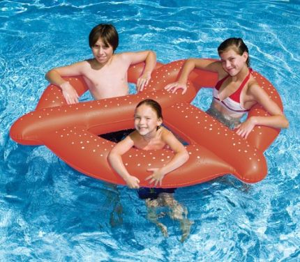 """Get it on <a href=""""https://jet.com/product/60-Water-Sports-Inflatable-Swimming-Pool-3-Person-Giant-Pretzel-Float/55ddff6a03e0"""
