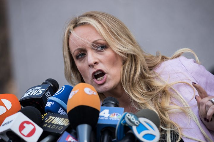 Porn actress Stormy Daniels, who claims she was paid off not to reveal an affair she had with Donald Trump, speaks to reporte