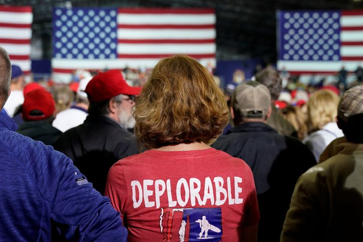"A supporter of Donald Trump wears a shirt with the word ""deplorable"" at the president's April 28 rally in Michigan."