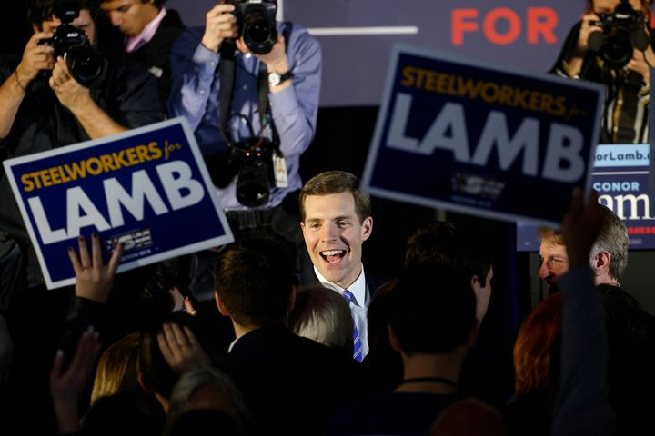 Now-Congressman Conor Lamb, a Democrat, is greeted by supporters on the night of the March 13 special election in Pennsylvani