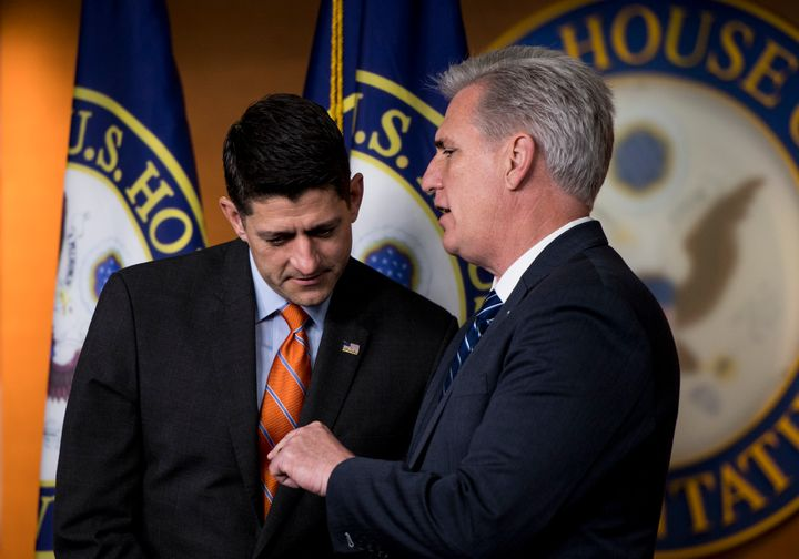 House GOP leaders Paul Ryan and Kevin McCarthy at the Capitol on May 16. With Democratic opposition to the current farm