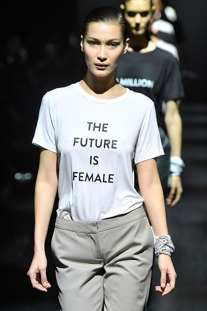 A model walks in the finale of the Prabal Gurung Fall/Winter 2017 collection, wearing a T-shirt with a message that reportedl