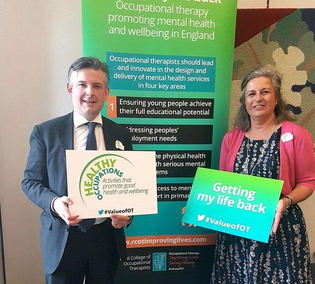 Shadow health secretary Jon Ashworth with Royal College of Occupational Therapists chief executive Julia Scott