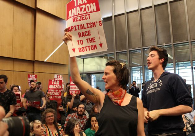 People protesting on May 14 during a Seattle City Council vote on a new