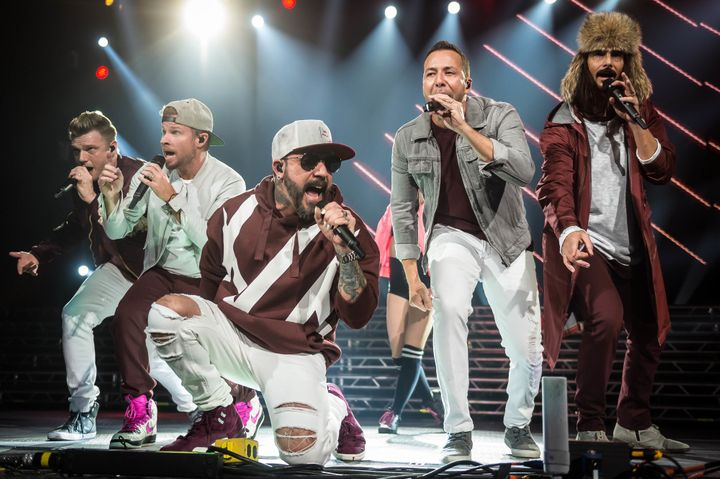 Nick Carter, Brian Littrell, AJ McLean, Howie Dorough and Kevin Richardson of the Backstreet Boys performing in December.