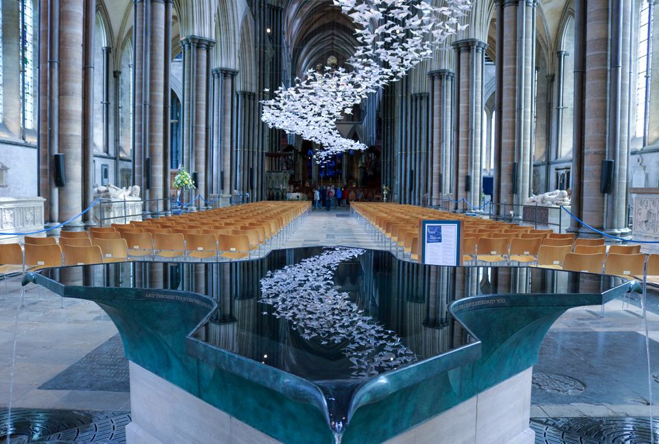 Michael Pendry's 'Les Colombes' installation at Salisbury Cathedral. The artist has said he is pleased...