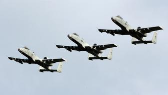 KANSAS CITY, KS - MAY 12:  A squadron of United States Air Force A-10 Warthogs fly over the track during the national anthem prior to the Monster Energy NASCAR Cup Series KC Masterpiece 400 at Kansas Speedway on May 12, 2018 in Kansas City, Kansas.  (Photo by Brian Lawdermilk/Getty Images)