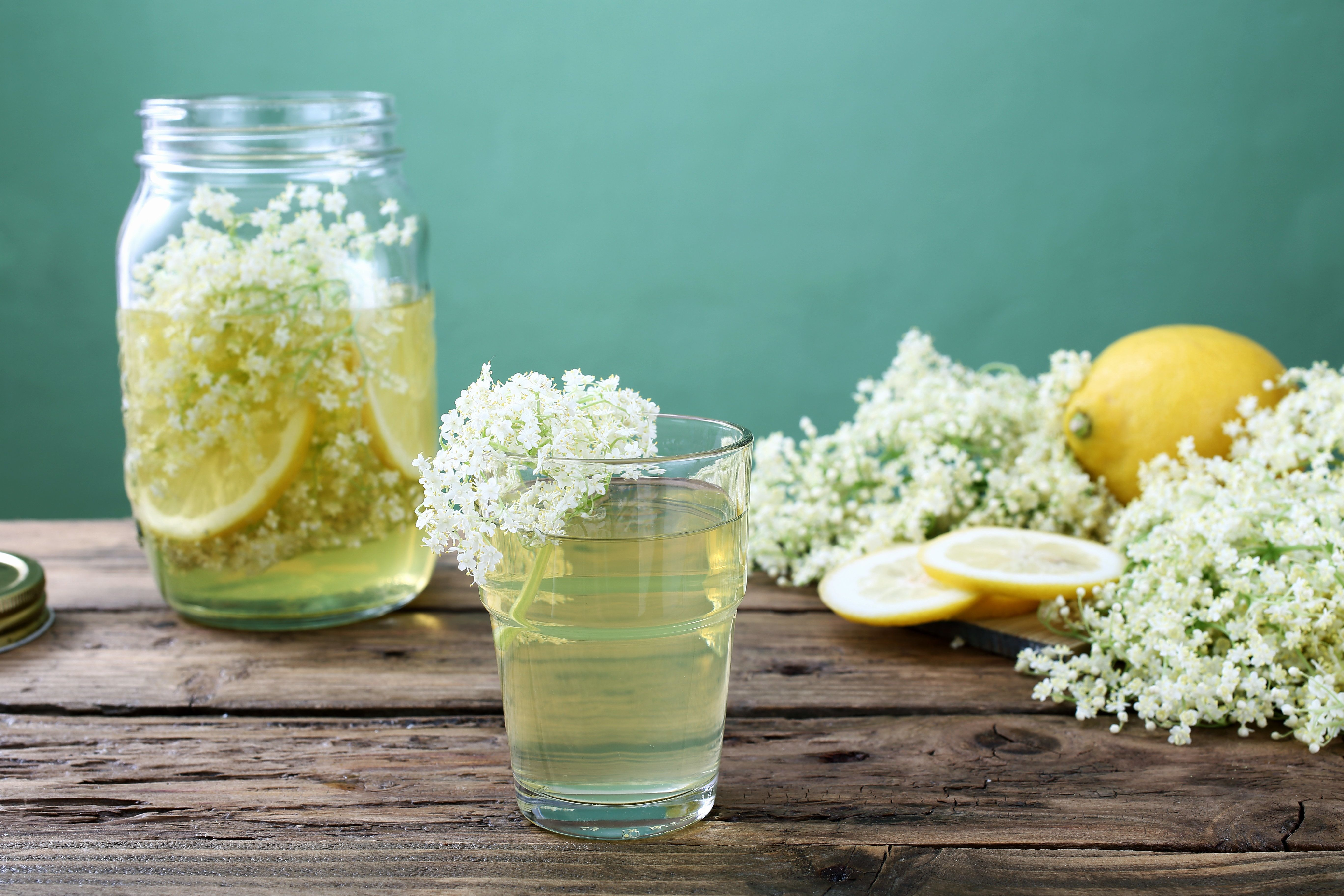 elderflower and lemon drink in glass green background