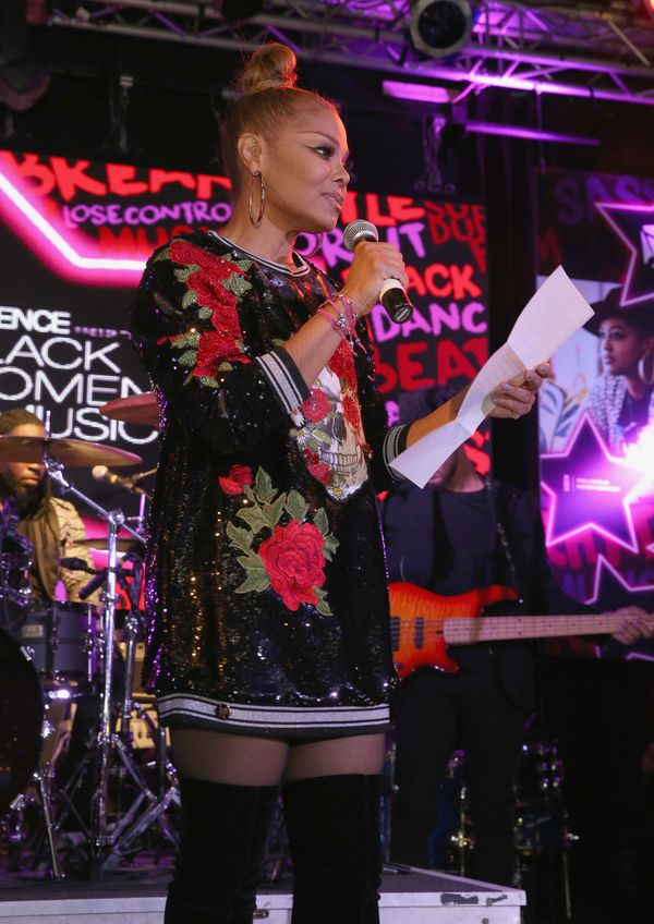 Speakingonstage at the Essence 9th annual Black Women in Music at Highline Ballroom in New York City.