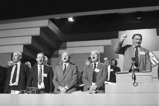 Tony Benn (far left) and Neil Kinnock (centre) clashed over Europe in the 1980s.