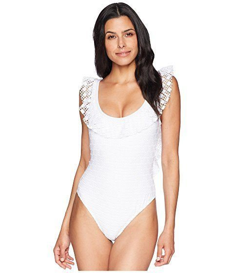 """Get it at <a href=""""https://www.zappos.com/p/kenneth-cole-lacy-days-ruffle-u-neck-one-piece-white/product/9051197/color/14"""" ta"""