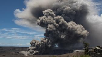 HAWAII, USA - MAY 17: (----EDITORIAL USE ONLY  MANDATORY CREDIT - 'USGS / HANDOUT' - NO MARKETING NO ADVERTISING CAMPAIGNS - DISTRIBUTED AS A SERVICE TO CLIENTS----) Ash plume rises following a massive volcano eruption on Kilauea volcano in Hawaii, United States on May 17, 2018. Lava is spewing more than 60 metres into the air and spread around 36,000 square metres.  (Photo by USGS / Handout/Anadolu Agency/Getty Images)