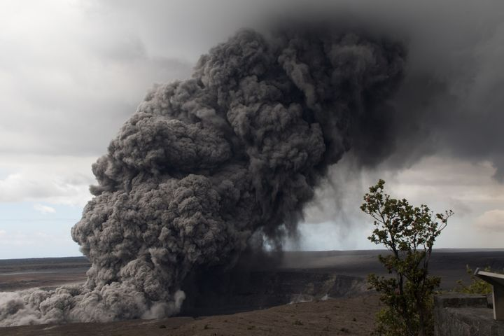 An ash plume follows a major eruption on Hawaii's Kilauea volcano on May 17, 2018.