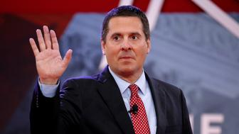 House Intelligence Committee Chairman Devin Nunes (R-CA) waves as he arrives to speak at the Conservative Political Action Conference (CPAC) at National Harbor, Maryland, U.S., February 24, 2018.      REUTERS/Joshua Roberts