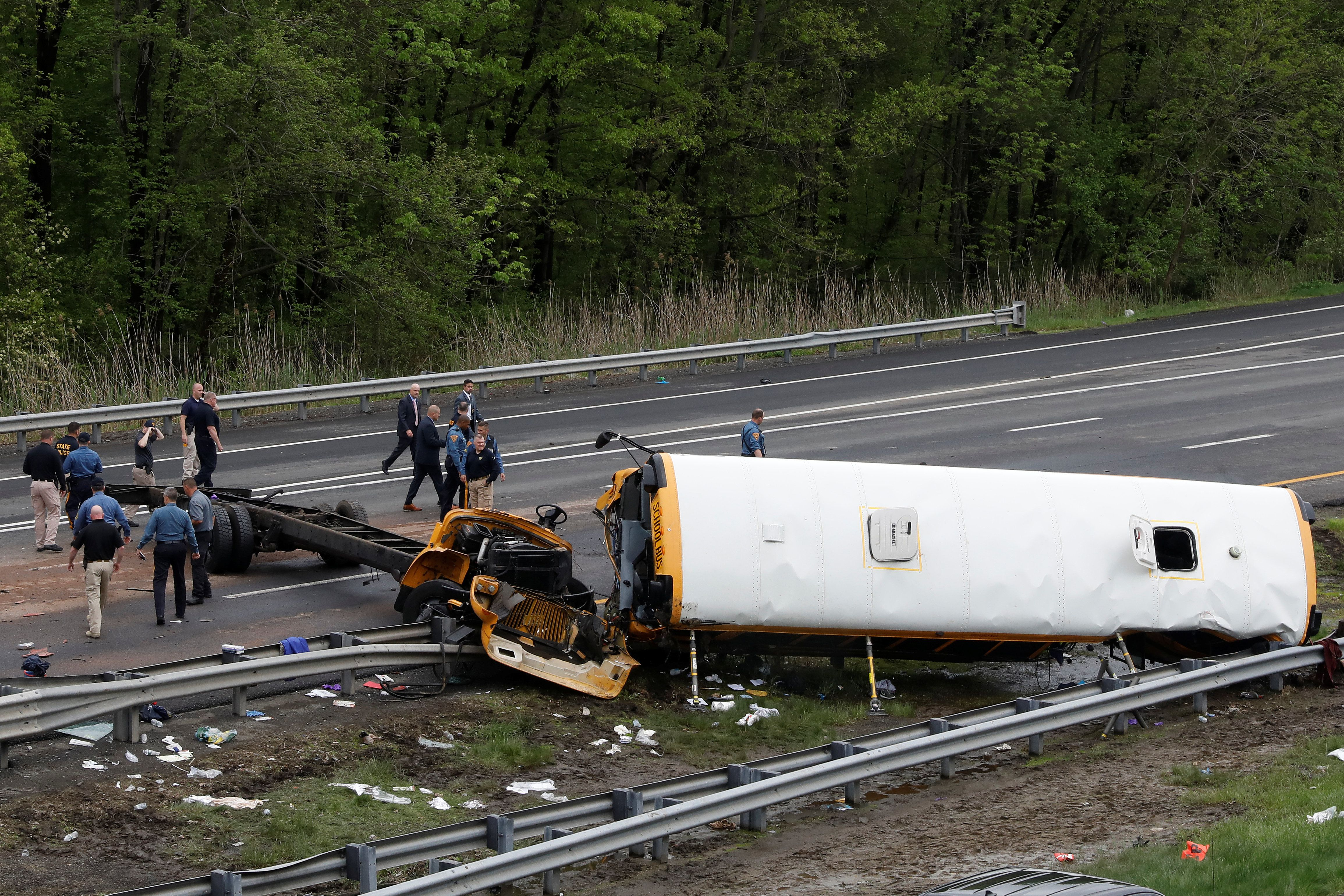 The school bus was almost completely severed from its wheelbase.