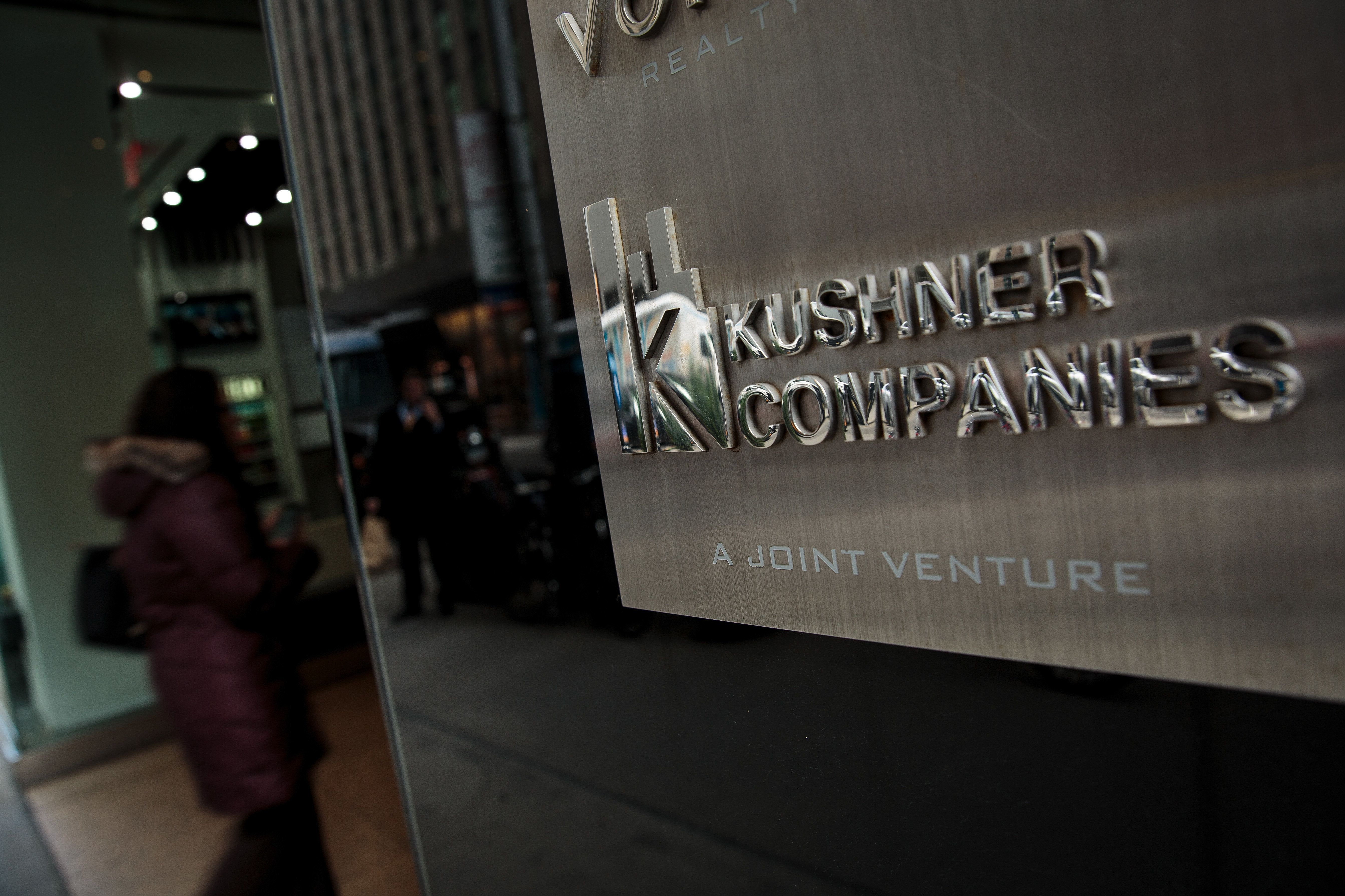 NEW YORK, NY - MARCH 6: A Kushner Companies logo is visible near an entrance to the Kushner Companies' flagship property 666 Fifth Avenue in Midtown Manhattan, March 6, 2018 in New York City. Kushner Companies, run by the family of White House senior adviser Jared Kushner, has been trying to raise funds for their $1.2 billion dollar mortgage on the building that is due in February 2019. The Kushners bought the property for $1.8 billion in 2006. Many real estate analysts say that they Kushners vastly overpaid for the property. (Photo by Drew Angerer/Getty Images)
