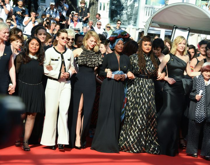 On Saturday, 82 women, including director Ava DuVernay and actress Cate Blanchett, linked arms to protest gender inequality.